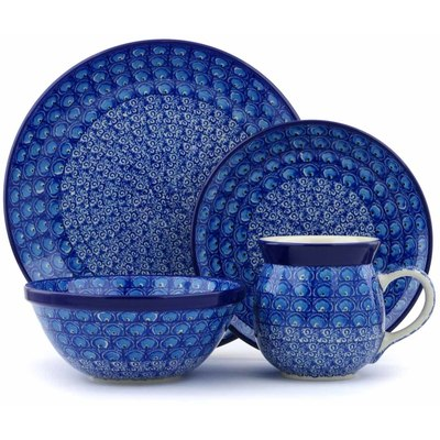 Polish Pottery 4-Piece Place Setting Blue Peacock