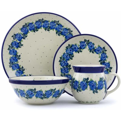 Polish Pottery 4-Piece Place Setting Blue Rose