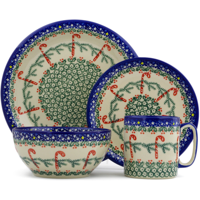 Polish Pottery 4-Piece Place Setting Candy Cane Wreath
