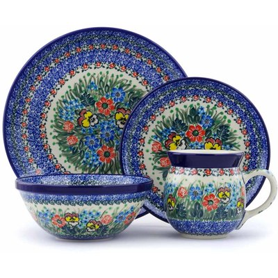 Polish Pottery 4-Piece Place Setting Country Bouquet UNIKAT