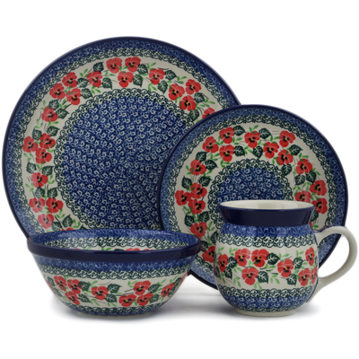 Polish Pottery 4-Piece Place Setting Delicate Red Flowers