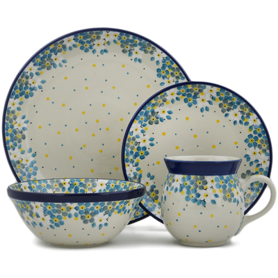Polish Pottery 4-Piece Place Setting Flowers Under The Starry Sky