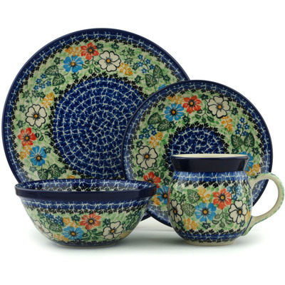 Polish Pottery 4-Piece Place Setting Glorious Concept UNIKAT