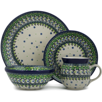 Polish Pottery 4-Piece Place Setting Green Chrysanthemums UNIKAT