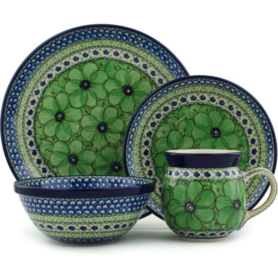 Polish Pottery 4-Piece Place Setting Green Pansies UNIKAT