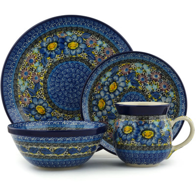 Polish Pottery 4-Piece Place Setting Joyful Meadow UNIKAT