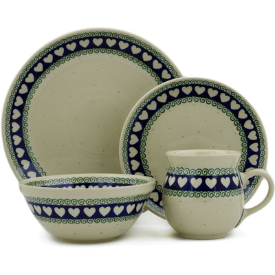 Polish Pottery 4-Piece Place Setting Light Hearted