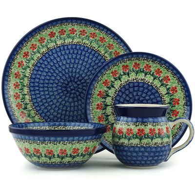 Polish Pottery 4-Piece Place Setting Maraschino