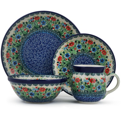 Polish Pottery 4-Piece Place Setting Meadow At Sunset UNIKAT