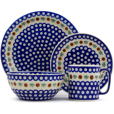 Polish Pottery 4-Piece Place Setting Mosquito