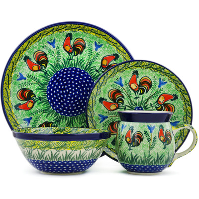 Polish Pottery 4-Piece Place Setting Rooster Parade UNIKAT