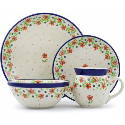 Polish Pottery 4-Piece Place Setting Simple Scarlet