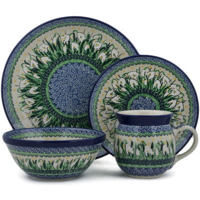 Polish Pottery 4-Piece Place Setting Snowdrops UNIKAT