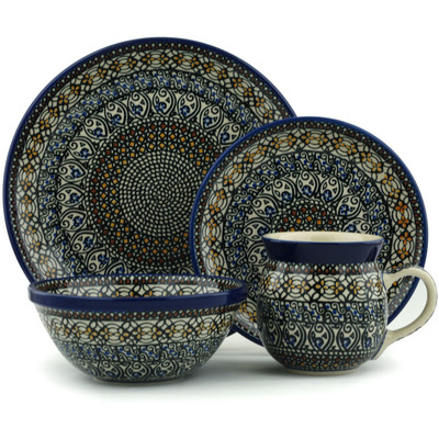 Polish Pottery 4-Piece Place Setting Stain Glass UNIKAT