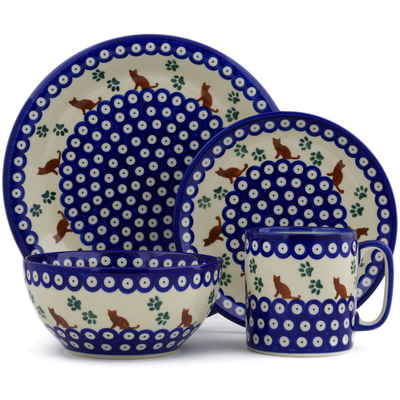 Polish Pottery 4-Piece Place Setting Traditional Kitty