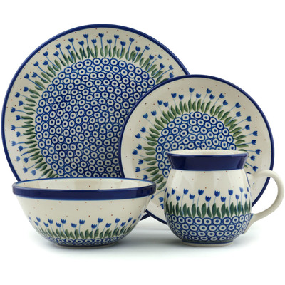 Polish Pottery 4-Piece Place Setting Water Tulip
