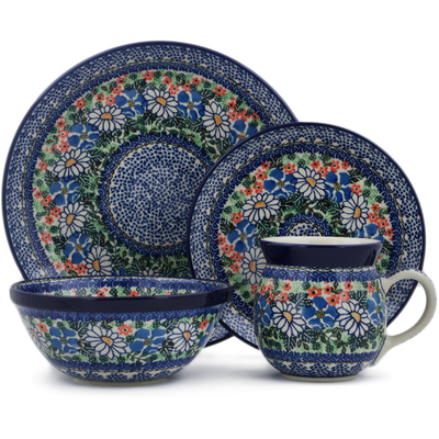 Polish Pottery 4-Piece Place Setting White Daisy Surprise UNIKAT