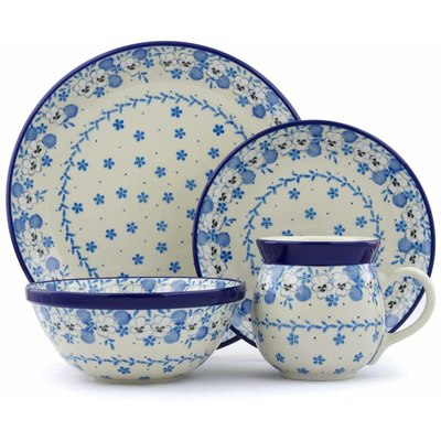 Polish Pottery 4-Piece Place Setting White Pansy