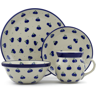 Polish Pottery 4-Piece Place Setting Wild Blueberry