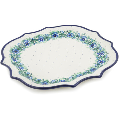 Polish Pottery 8 Point Plate Blue Bell Wreath