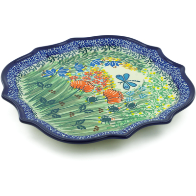 Polish Pottery 8 Point Plate Dragonfly Bounty UNIKAT
