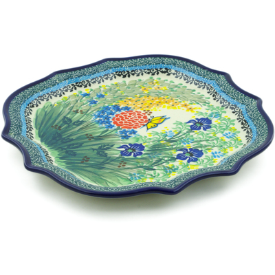 Polish Pottery 8 Point Plate Spring Garden UNIKAT