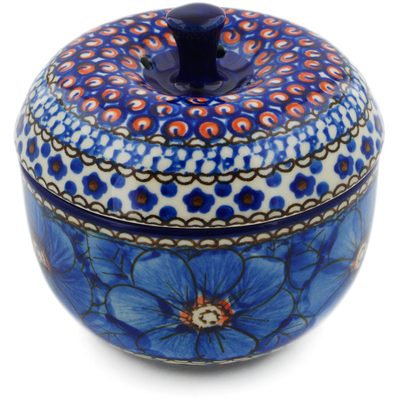 "Polish Pottery Apple Shaped Jar 4"" Cobalt Poppies UNIKAT"
