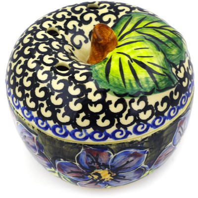 "Polish Pottery Apple Shaped Jar 4"" Midnight Glow UNIKAT"