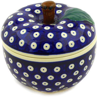 "Polish Pottery Apple Shaped Jar 5"" Blue Eyes"