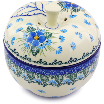 "Polish Pottery Apple Shaped Jar 5"" Forget Me Not"