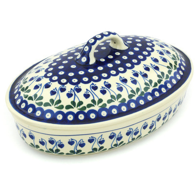 "Polish Pottery Baker with Cover 12"" Bleeding Heart Peacock"