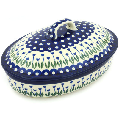 "Polish Pottery Baker with Cover 12"" Blue Tulip Peacock"