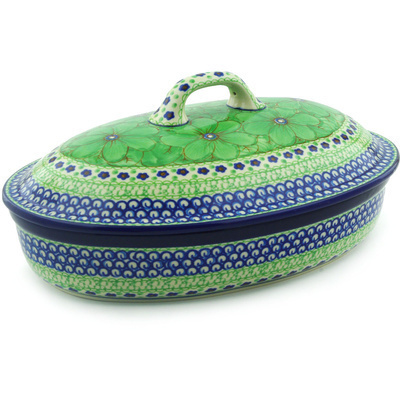 "Polish Pottery Baker with Cover 12"" Key Lime Dreams UNIKAT"
