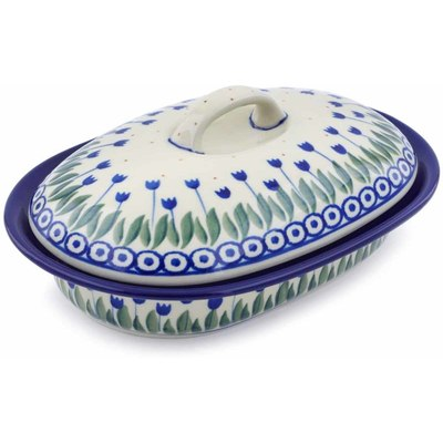 "Polish Pottery Baker with Cover 8"" Water Tulip"