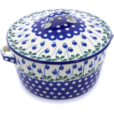 Polish Pottery Baker with Cover with Handles 8-inch Bleeding Heart Peacock