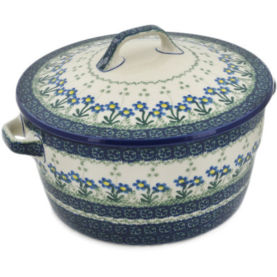 Polish Pottery Baker with Cover with Handles 8-inch Blue Daisy Circle