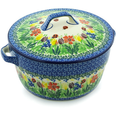 Polish Pottery Baker with Cover with Handles 8-inch Lady Bug Tulips UNIKAT
