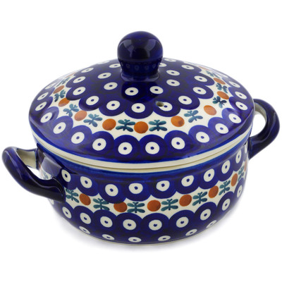 "Polish Pottery Baker with Cover with Handles 8"" Mosquito"