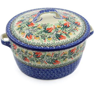 Polish Pottery Baker with Cover with Handles 8-inch Rose Bud Roundup UNIKAT