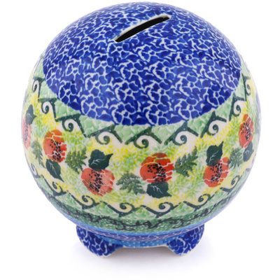 "Polish Pottery Ball Piggy Bank 4"" Peach Rose Meadow UNIKAT"
