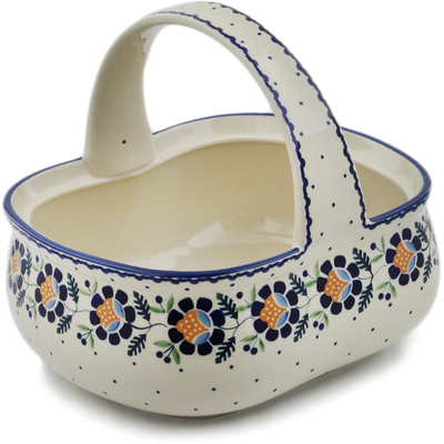 "Polish Pottery Basket with Handle 10"" Orange And Blue Flower"