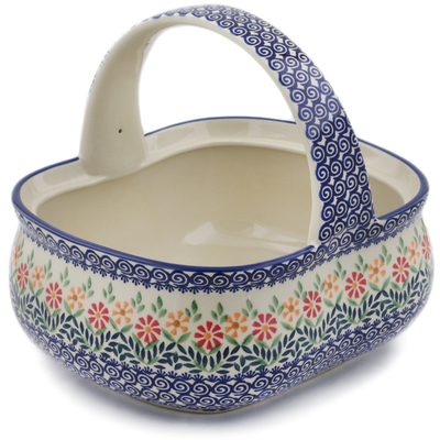 "Polish Pottery Basket with Handle 10"" Wave Of Flowers"
