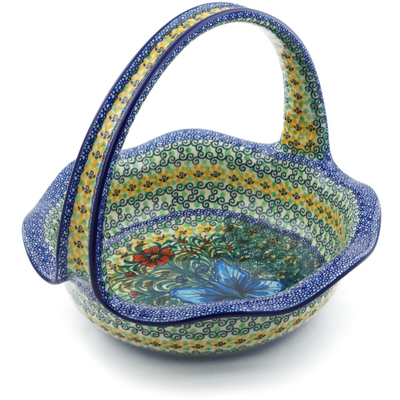 "Polish Pottery Basket with Handle 11"" Butterfly Holly UNIKAT"