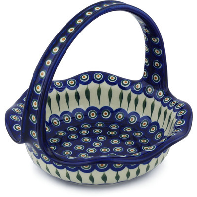 "Polish Pottery Basket with Handle 11"" Peacock Leaves"