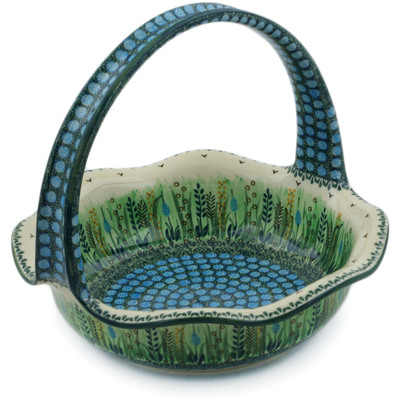 "Polish Pottery Basket with Handle 11"" Prairie Land UNIKAT"