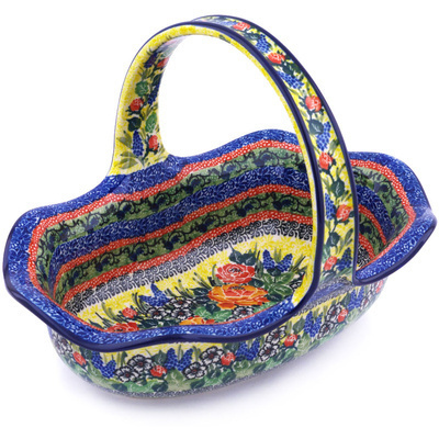 "Polish Pottery Basket with Handle 11"" Splendid Morning Glow UNIKAT"