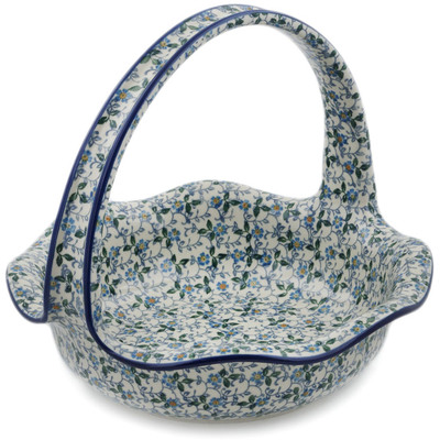 "Polish Pottery Basket with Handle 11"" Summer Wind"