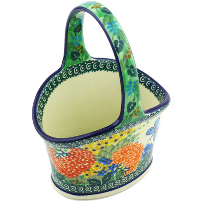 "Polish Pottery Basket with Handle 7"" Garden Delight UNIKAT"