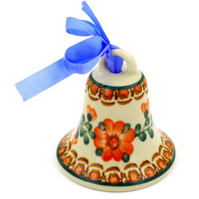 "Polish Pottery Bell Ornament 3"" Orange Poppies"