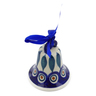 "Polish Pottery Bell Ornament 3"" Peacock"